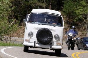 Action shot driving the Dragon in our vintage Campervan