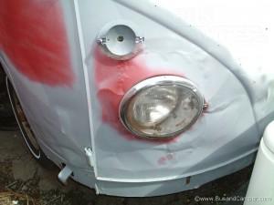VW Camper nose dented