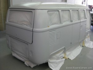 Rear passenger side of our primer campervan