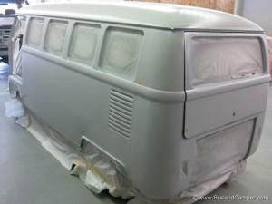 Long side panel on a splitscreen Bus in primer