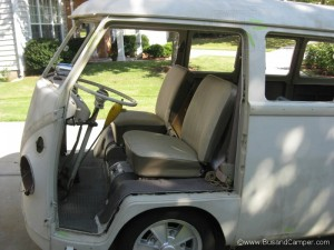 Front doors off ready for paint our VW Bus