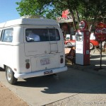 Vintage gas pumps and a VW Camper
