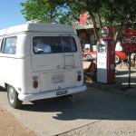 Vintage gas pumps and a VW Camper