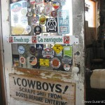 Cowboys scrape boots sign at hackberry