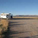 Empty road and VW Camper