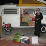 Volkswagen Campervan and cooking a meal