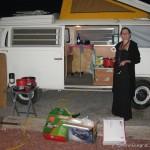 Volkswagen Campervan and cooking a meal