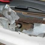 Fibreglass and thin aliminium sheet bodge repair