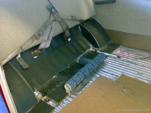 VW Soundproofing absorber glued over sound damper under Campervan rear seat