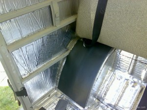 VW sound proofing absorber material glued on top of sound damper