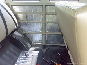VW Camper interior long panel with sound absorber applied