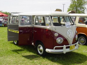 red campervan