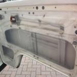 Vapour barrier in place inside the door of our volkswagen van