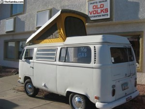 Pop top in position on Bay Window Camper