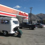Autozone for a tune up on the Camper