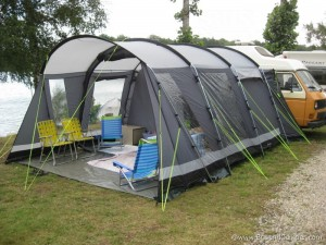 Outwell country road tent attached to our Campervan
