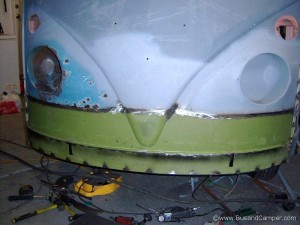 continuous weld thats grounds down and seam sealed on our 65 van