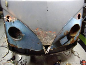 replacement headlight buckets both sides but many holes on the centre section still