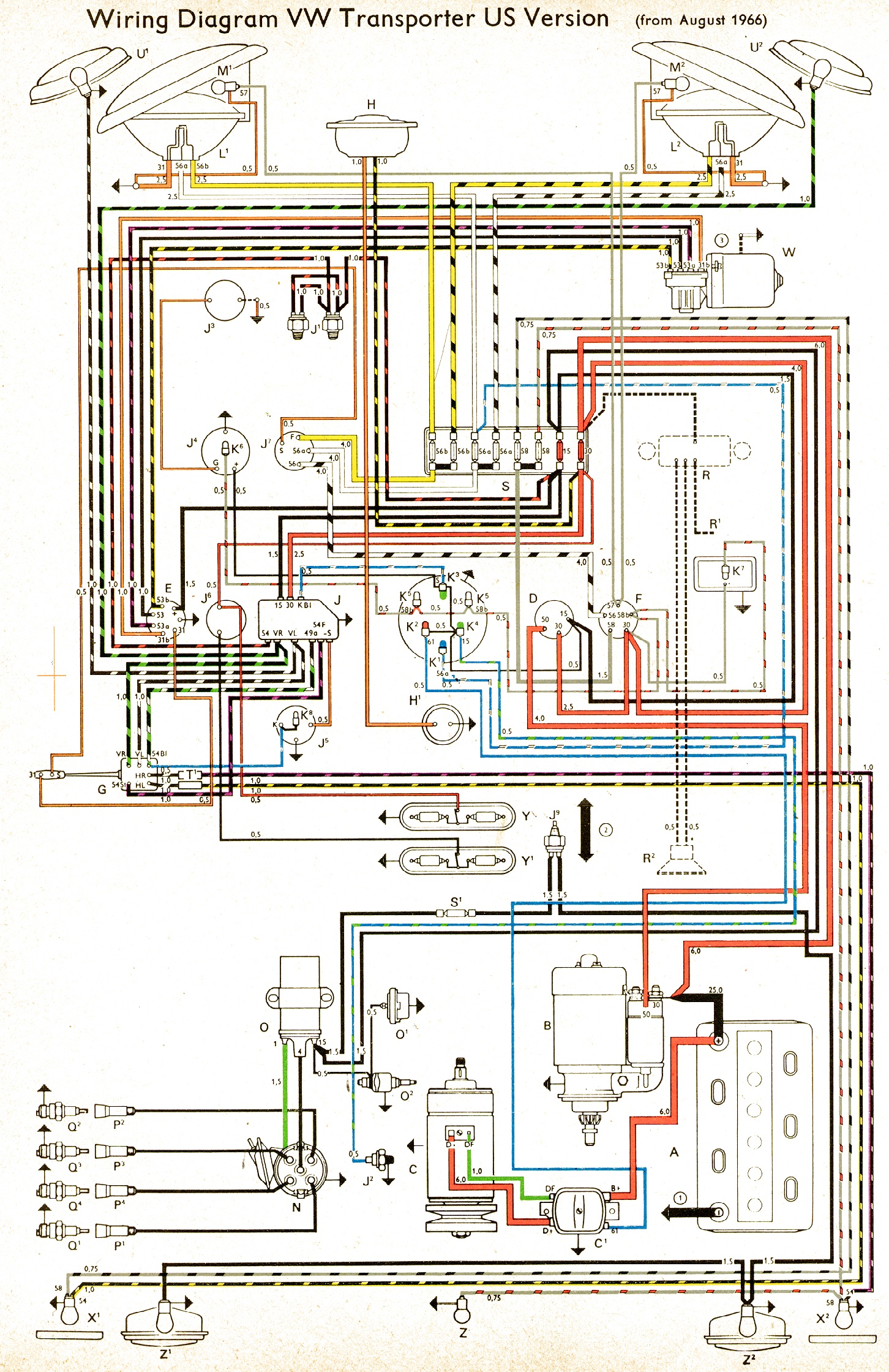 wiring diagram US spec 1966 bus