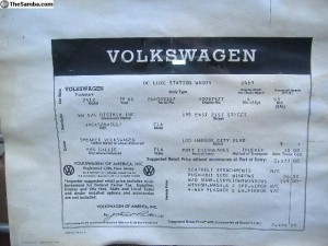 original sales sheet title vw camper
