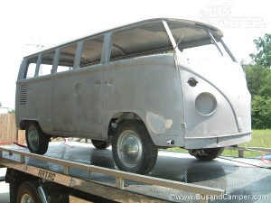 VW bus sand blasted