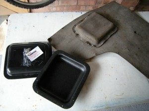 vw camper split screen door panel original and new pockets