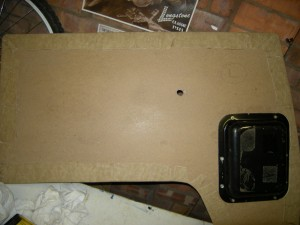 vw camper front door panel restored with new pockets on the back