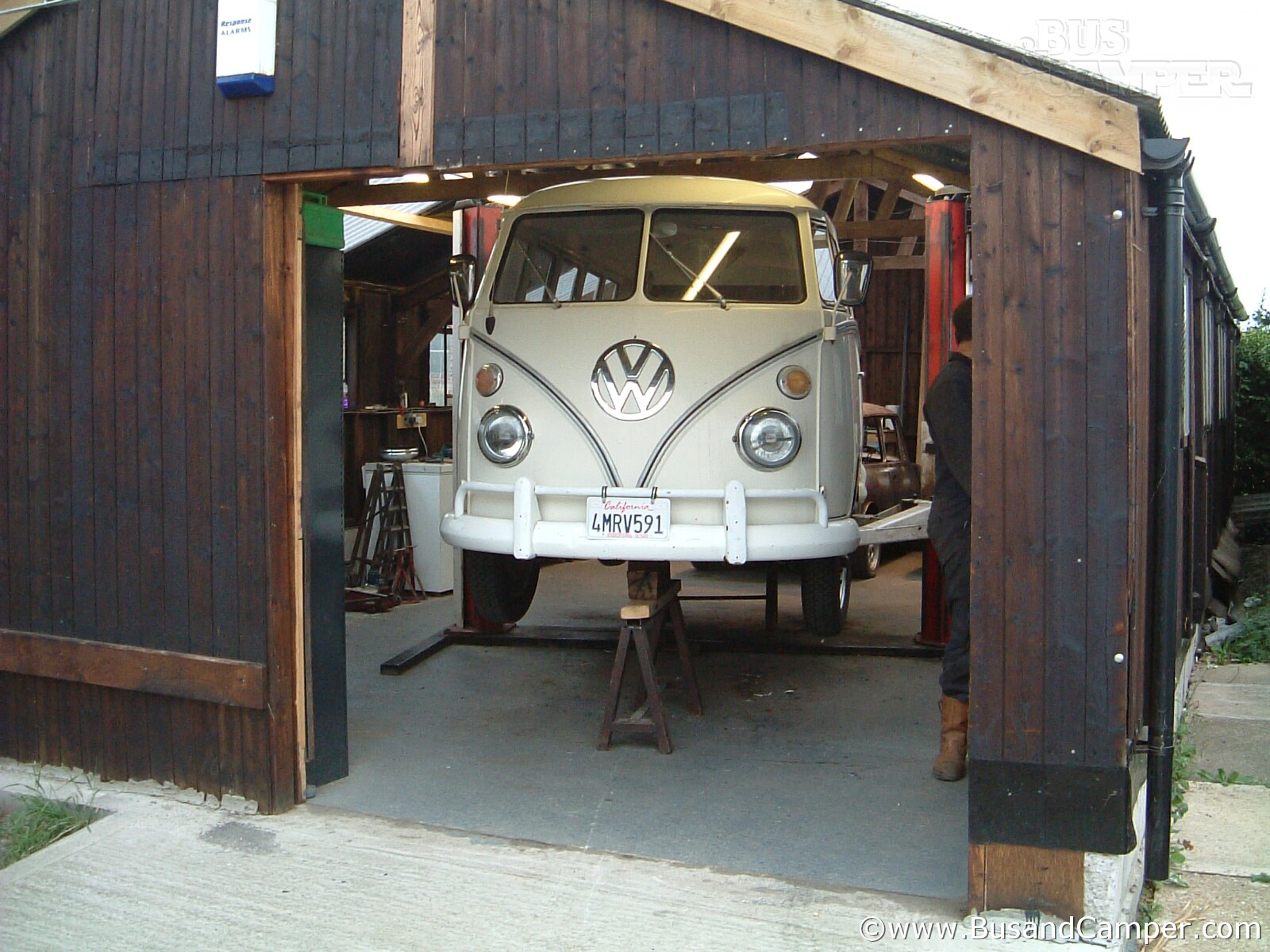 VW Bus and 2 Post Lift
