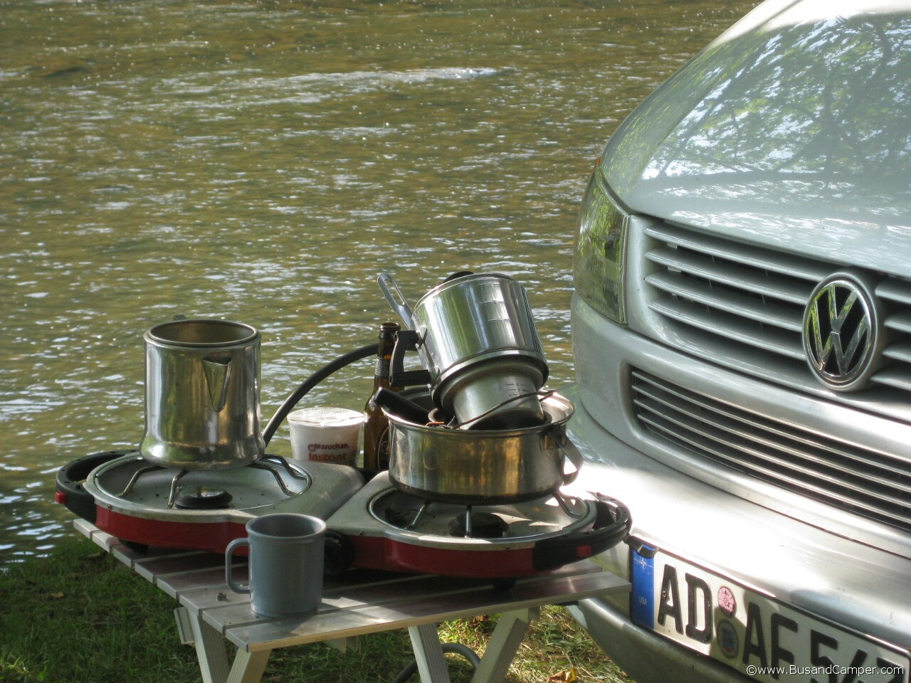 Coleman grill and camping pots