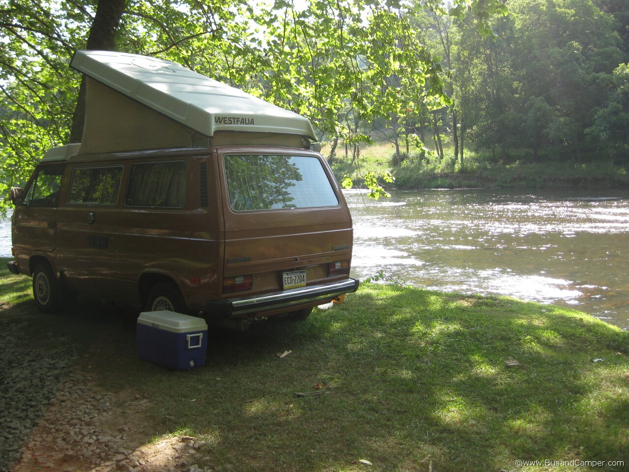 Brown Orange Westfalia pop top Vanagon