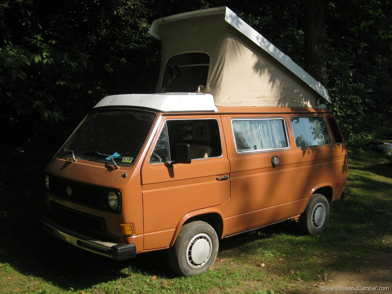 Burnt orange VW campervan