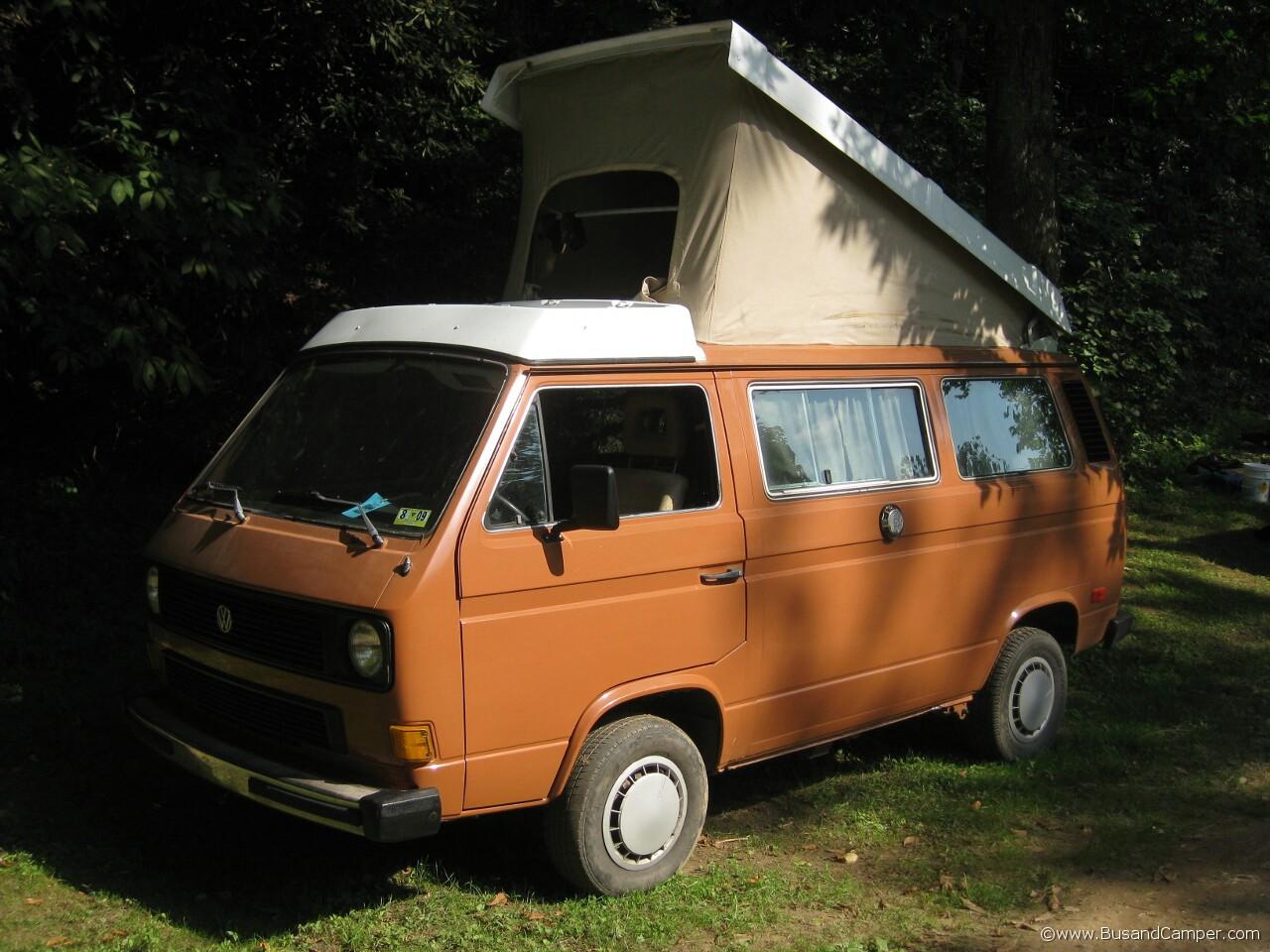 Burnt orange VW campervan