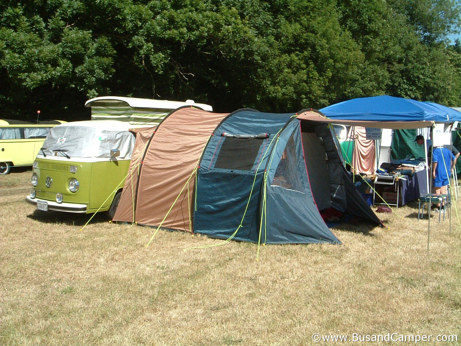 Camper and tent