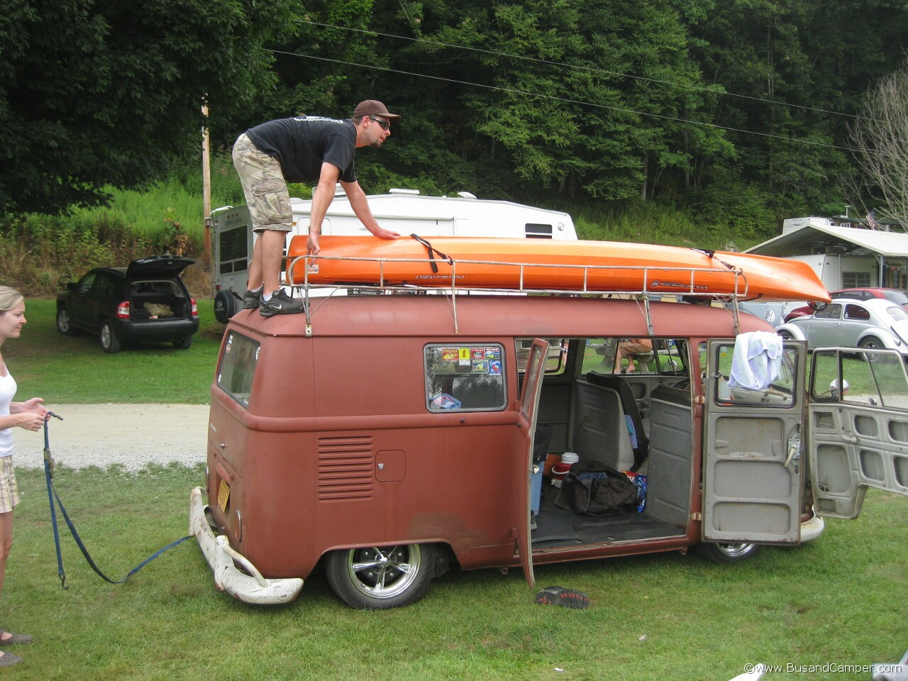 Kayak on roof of split window Bus Moonie style